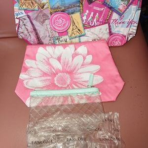 Lancome bundle of 3 cosmetic bags new pink PVC